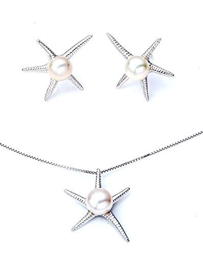 Ana Morales Damen-Schmuckset Perlenschmuck+Silberkette alles 925 Sterling Silber