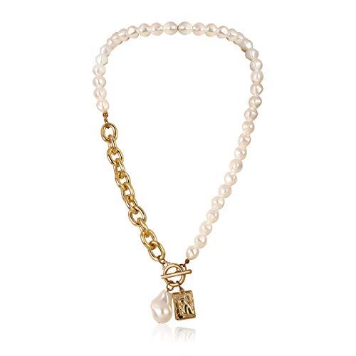 Temperament Geformte Nachahmung Perlenkette Weibliche Retro Barock Geometrische Porträt Quadratische Halskette