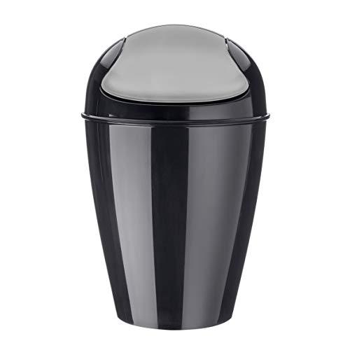 koziol Schwingdeckeleimer 12 L Del M,  Kunststoff, solid schwarz, 29 x 29 x 44,5 cm