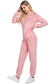 Hotouch Women s Hoodie Tracksuits Velvet Sport Set Warm up Suits and Pants Pink S