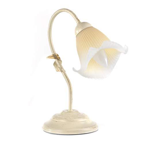 ONLI Lampada da Tavolo in Metallo Avorio spennellato Oro con Vetro Plissé sfumato Ambra 6 W