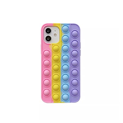 Cubierta del teléfono de silicona del arco iris, caja de juguete de silicona suave, empuje de arco iris juguetes divertidos de ansiedad regalo de alivio de ansiedad popping tapa de teléfono anti-gota-