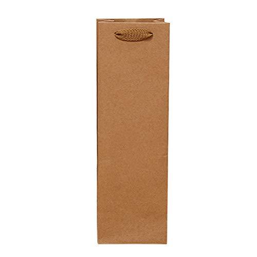 VOSAREA Bolsas de Kraft con Asas para Botella de Vino Bolsas para Regalo de Papel para Navidad Fiesta de Boda un Solo Recipiente 11 * 9 * 35 12 Piezas