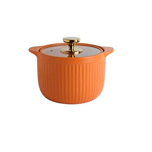 ZLDGYG Cacerola de cerámica esmaltada con Tapa de Vidrio, Cacerola doméstica Resistente a Altas temperaturas, Naranja