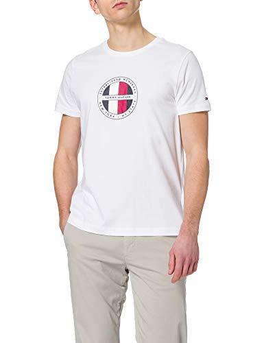 Tommy Hilfiger Circular Logo tee Camiseta, Blanco, M para Hombre