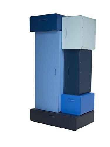 L'Aquila Design Arredamenti Casamania - Mueble armario Valises con estructura de cuero degradado azul