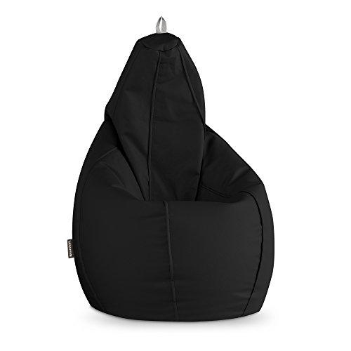 HAPPERS Puff Pera para Exterior en Polipiel Náutica Impermeable Negro XL