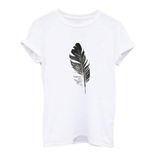 WGNNAA Damen Sommer T-Shirt Casual Top Lose Shirt Rundhals Freizeitshirt Drucken Bluse Kurzarm Tee Mode Hemd T-Shirt Basic Oberteile Groß Größen S-4XL