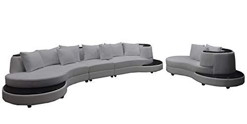 JVmoebel Lujoso sofá esquinero de piel con cojín XXL grande en forma de U