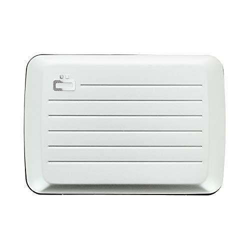 Ögon Smart Wallets - Cartera de aluminio Stockholm V2 - Cierre de metal -Tarjetero RFID antirrobo - Capacidad 10 tarjetas y billetes - Silver
