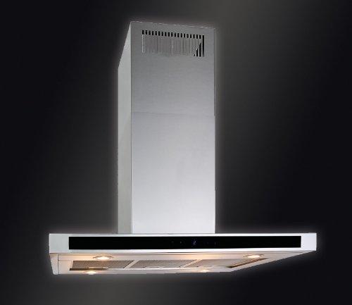 Baumann Design Inselhaube Modell Vela Isola, 90 x 60 cm. 800 m3/h Abluftleistung, 4-Stufen-Touch-Control Steuerung, 51 dB auf Maximalstufe