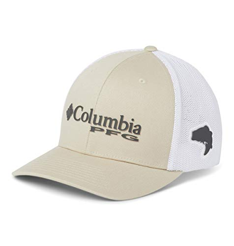 Columbia Unisex PFG Mesh Ball Cap, Fossil, Grill, White, Bass, Large/X-Large