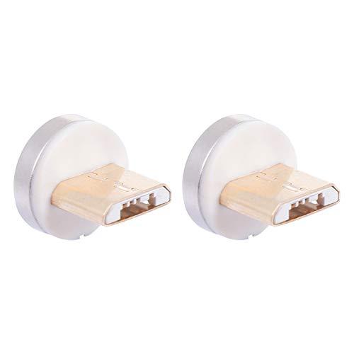 Hemobllo 1 Paar Magnetische USB-Kabeladapter-Steckerspitzen Kopf 360 ° Drehbarer Magnetstecker für Micro-USB-Android-Geräte
