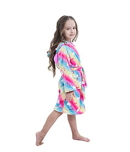 Boys and Girls Unicorn Bathrobe Animal Hooded Fleece Sleepwear Robe for Children's Gift Rainbow Love 8-9 Years Old (160)