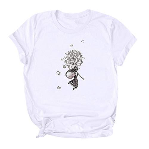 Berimaterry Damen Kurzarm T-Shirt Mode Print Sommershirt Bluse Casual Rundhals Lose Tunika Shirt Basic Große Größen Tshirt Tops