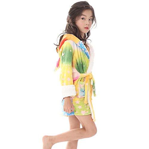 Litthing Albornoz para niños con Capucha Unisex Patrón Unicornio Franela Linda Cómoda Ropa de Dormir Suave con Capucha Vestimenta Homewear (Estrella Colorida)