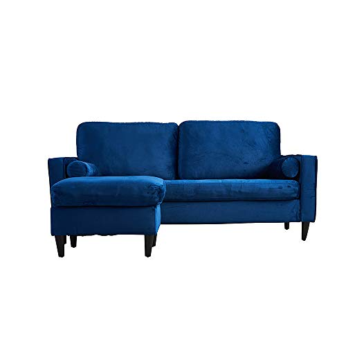 Panana Vintage Velvet Fabric 3 Seater Sofa Modern L Shaped Coach Settee Left or Right Chaise with Footstool Dark Blue