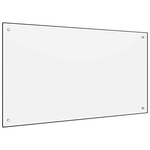 vidaXL Küchenrückwand Spritzschutz Fliesenspiegel Glasplatte Rückwand Herdspritzschutz Wandschutz Herd Küche Weiß 100x60cm Hartglas
