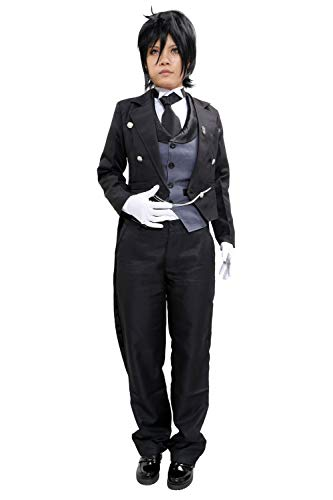 Black Butler Kuroshitsuji Sebastian Michaelis Anime Cosplay Costume 1st Version in Size L