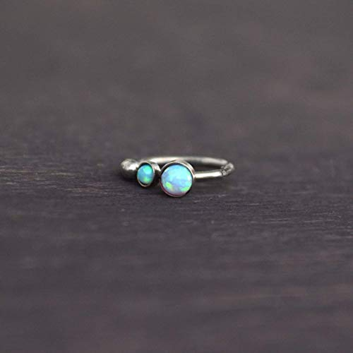 Opal Cartilage Earring Hoop - Tragus Earring, Rook Piercing Jewelry, Helix Earring Clicker