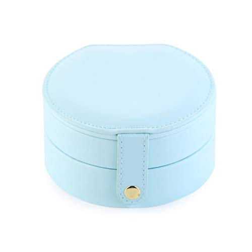 JINDAO Caja de almacenaje Joyero de Cuero Moderna Simple de Pendientes Manual pequeña joyería Caja de Almacenamiento Tocador de baño encimera contenedor de Almacenamiento (Size : Light Blue)