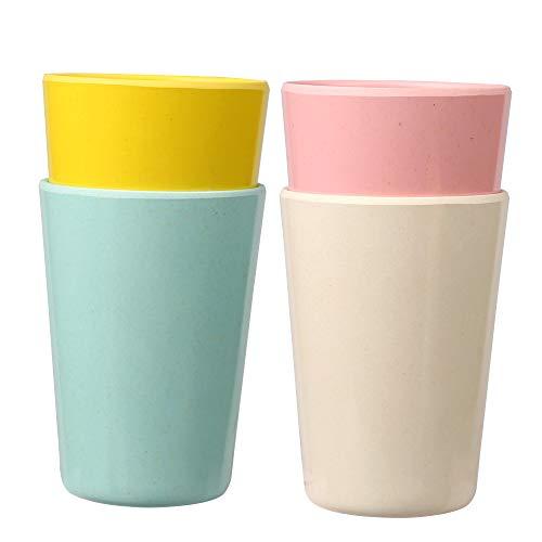shopwithgreen Bambus Kinder Tassen,237ml (8 OZ) Bambusfaser Trinkbecher, 4er-Set Kinder Geschirr Set für Kinder & Baby & Kleinkind, Kindertasse für Kalt- & Heißgetränke, BPA-frei & Spülmaschinenfest