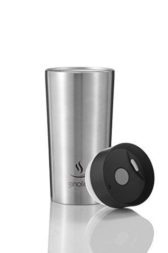 ginolino Edelstahl Thermobecher I Isolierbecher für Kaffee to go - 100% auslaufsicher - Einhandbedienung - stilvoller Kaffeebecher für unterwegs - Travel Mug