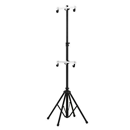 homcom Cavalletto Portabici Pieghevole con Altezza Regolabile 166-280cm, in Alluminio e Metallo Nero