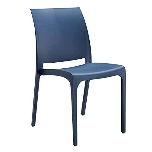 sedia da giardino in plastica design moderno colorata (Blu)