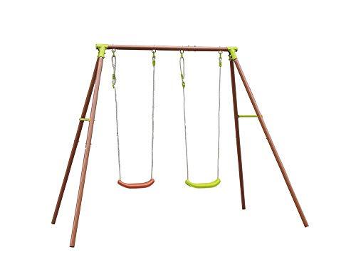 XONE Altalena in Metallo per Giardino 2 posti con seggiolino per Bambini
