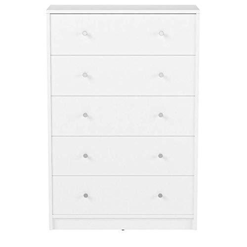 Tvilum Modern and Elegant Studio 5-Drawer Dresser (White)