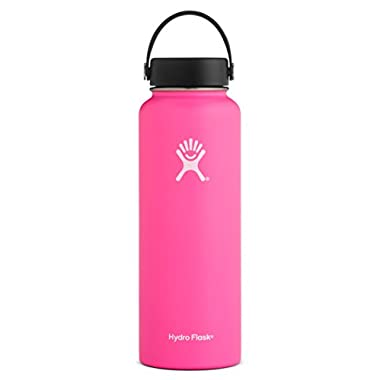 Hydro Flask 40 oz Double Wall Vacuum Insulated Stainless Steel Leak Proof Sports Water Bottle, Wide Mouth with BPA Free Flex Cap, Flamingo