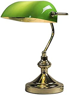 QAZQA Retro/Vintage Lámpara de notario clásica latón/oro verde -BANKER Vidrio/Acero Redonda/Alargada Adecuado para LED Max. 1 x 60 Watt