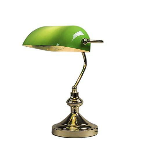 QAZQA Art Deco/Klassisch/Antik/Retro Tischleuchte/Tischlampe/Lampe/Leuchte NOTAR messing mit grünem Glas/Innenbeleuchtung/Wohnzimmerlampe/Schlafzimmer/Nachttischleuchte/Bankerleuch