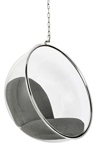 Bubble - Silla colgante con cojín gris (cuerpo acrílico, cojín de lana)