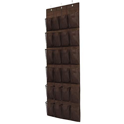 Over The Door Shoe Organizer Hanging Closet Holder Hanger Storage Bag Rack with 24 Large Mesh Pockets Brown
