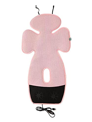 Pink Baby Seat Cooling Liner, Mesh Stroller Liner Infant Baby Cushion Pad Cool Seat for Stroller Safety Seat Dining Chair, with 2 Adjustable Fans and USB Powered
