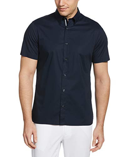 Perry Ellis Men's Untucked Stretch Solid Poplin Short Sleeve Button-Down Shirt, Dark Sapphire, Large