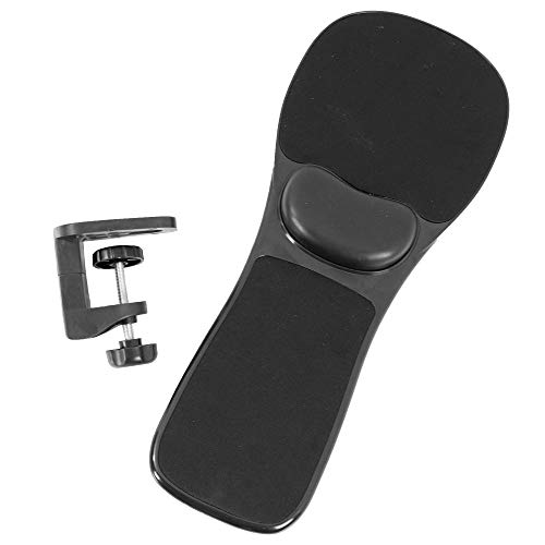 VIVO Universal Clamp-on Adjustable Arm Rest Mouse Pad with Wrist Cushion, Extension Platform Tray Attaches to Desk or Chair, Black, MOUNT-MS02B