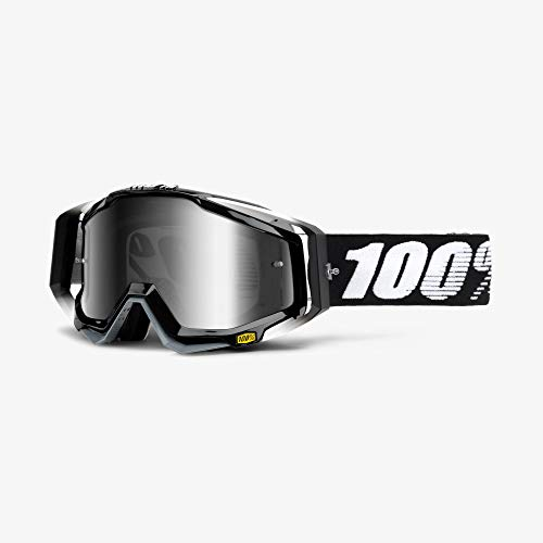 100 Percent RACECRAFT Goggle Abyss Black-Mirror Silver Lens Gafas de...