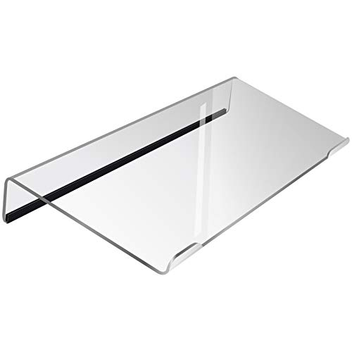 Nat-Hom Computer Keyboard Stand-Clear Acrylic Keyboard Tray with Rubber Strip,Ticker Acrylic Keyboard Riser(Holder) for Easy Ergonomic Typing and Working at Home and Office(Upgrade with rubber strip)