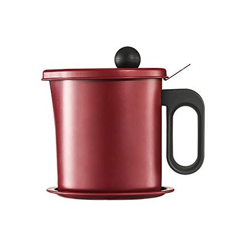 ORETG45 Contenedor de aceite separador de 1,7 L para restaurante de malla fina con dispensador de grasa con colador a prueba de fugas y cocina limpia olla de acero inoxidable desmontable (rojo)