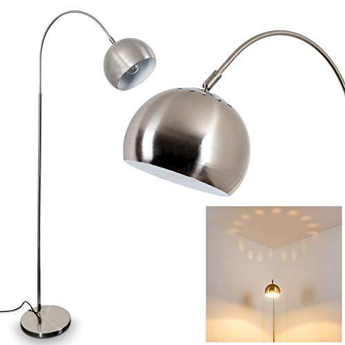 Lampadaire Felisa, moderne en métal nickelé mat, culot E27, max. 60 W, lampe arc avec tête réglable, interrupteur à pied sur le câble, effet lumineux sur le plafond