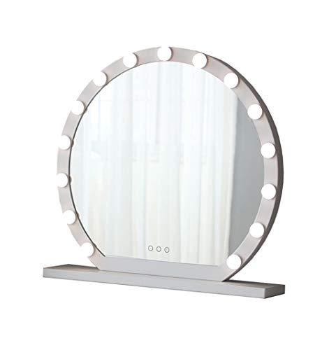 Runder Schminkspiegel mit 9 LED licht Beleuchtung Kit | Kosmetikspiegel LED beleuchtet | als Make-up Spiegel Rasierspiegel für Frisiertische Hollywood-Stil (weiß) (größe : Diameter 60cm)