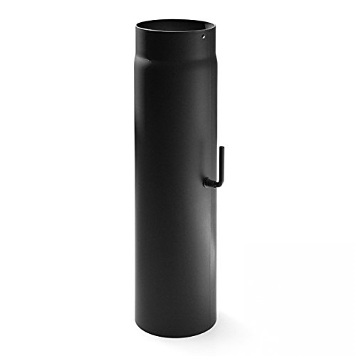 raik SH035-120-sw Rauchrohr/Ofenrohr 120mm - 500mm mit Zugregulierung schwarz