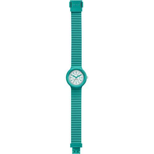 Orologio HIP HOP donna NUMBERS COLLECTION quadrante bianco e cinturino in silicone verde acqua, movimento SOLO TEMPO - 3H QUARZO