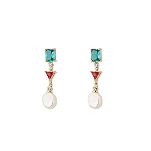 QIN Elegante Oreja de Oreja de Perlas Naturales Hermosa Cubo Cubo zirconi aretes de Cristal joyería Boda Fiestas