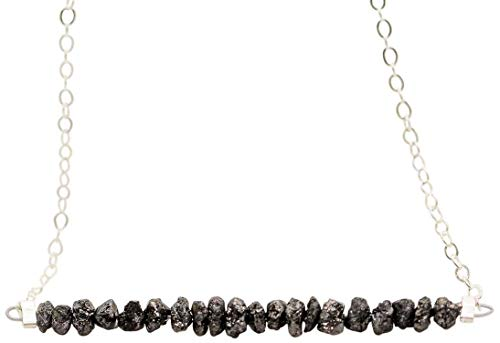 Raw Black Diamond Bar Pendant Sterling Silver Necklace Jewelry Gift for Women 16 Inches
