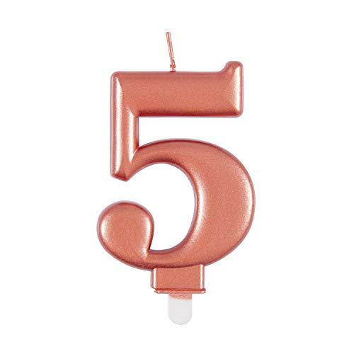 Unique Vela de cumpleaños 19625, número 5-3.5 pulgadas, oro rosa, metálico, 1 unidad, color rosa