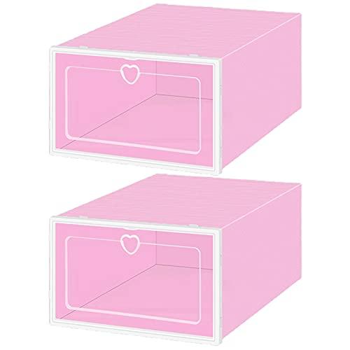 Leadrop 2 cajas de almacenamiento para zapatos, cajas de plástico de gran capacidad con anillo de extracción de corazón, cajas de zapatos para guardarropa, sala de estar, color rosa